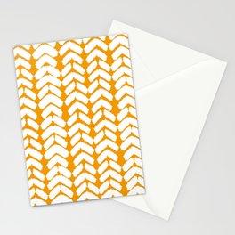 Hand-Drawn Herringbone (White & Orange Pattern) Stationery Cards