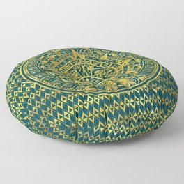 Gold  Aztec Inca Mayan Calendar Floor Pillow