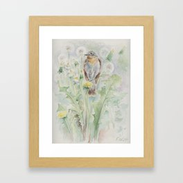 Flycatcher Wildlife bird watercolor painting Framed Art Print