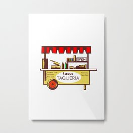 Taco Stand Taqueria Stand Woodcut Metal Print