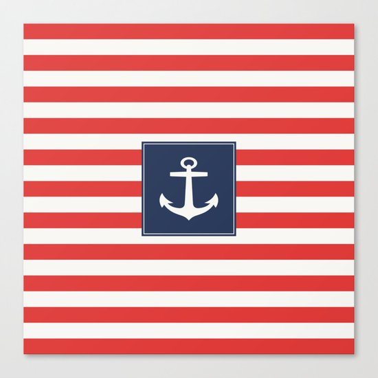Anchor on red and white stripes Canvas Print