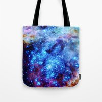 galaxy Tote Bags featuring galaxy by 2sweet4words Designs