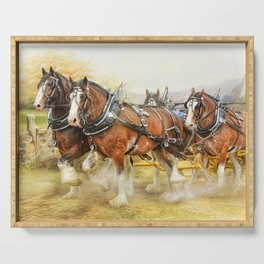 Clydesdales In Harness Serving Tray
