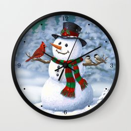 Cute Happy Christmas Snowman with Birds Wall Clock