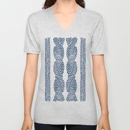 Cable Row Navy 1 Unisex V-Neck