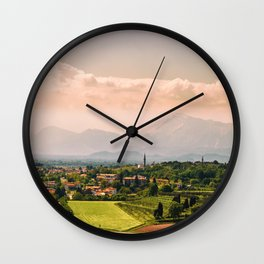 sunny spring day in the countryside Wall Clock