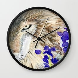 Wolf with purple flowers Wall Clock