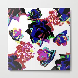 Pink Blue Green Yellow Aqua and Red Abstract Roses and Lantanas on White Metal Print