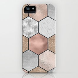 Marble hexagons and rose gold on black iPhone Case