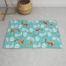 Waterlily koi in turquoise Rug