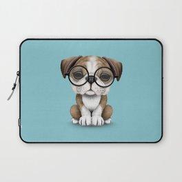 Cute English Bulldog Puppy Wearing Glasses on Blue Laptop Sleeve