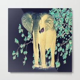 The Elephant and the Butterfly Vintage Metal Print