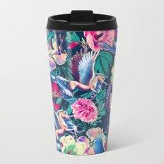 Unicorn and Floral Pattern Metal Travel Mug