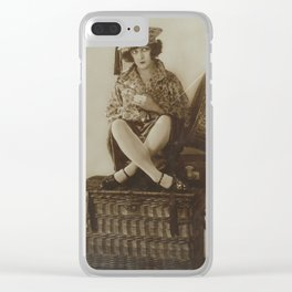 Victorian Vintage Posing Lady On A Basket Clear iPhone Case