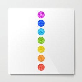 Chakra symbols with respective colors- Spiritual gifts Metal Print