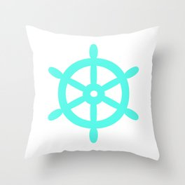 Ship Wheel (Turquoise & White) Throw Pillow