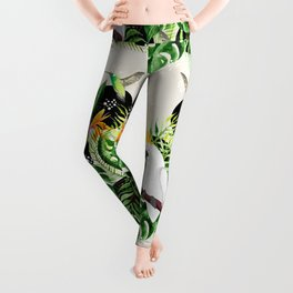 Birds and tropical plants Leggings