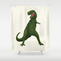 t rex Shower Curtains featuring T Rex by Lydia Meiying