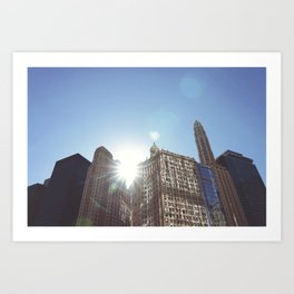 The Sun Piercing the Chicago City Skyline Art Print