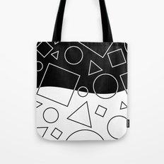 Black and White Geometric Shape Wave Divide Modern Pattern Tote Bag