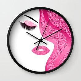 Pink glitte woman Wall Clock