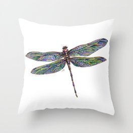 Colorful Dragonfly Drawing Throw Pillow