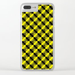 Yellow and Black Smiley Face Check Clear iPhone Case