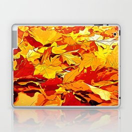 golden autumn leaves vector art Laptop & iPad Skin