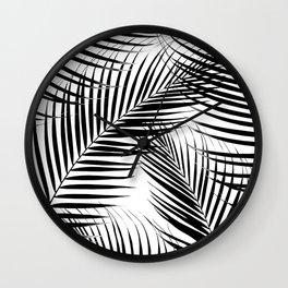 Palm Leaves - Black & White Cali Vibes #1 #tropical #decor #art #society6 Wall Clock