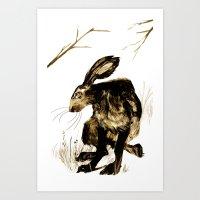 hare Art Prints featuring Hare by Maddi Matthews