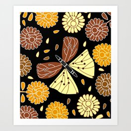 Butterfly and flowers Art Print