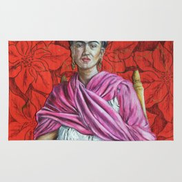 Frida Kahlo with Poinsettias Rug