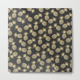 Modern chalk black elegant faux gold pineapple pattern Metal Print