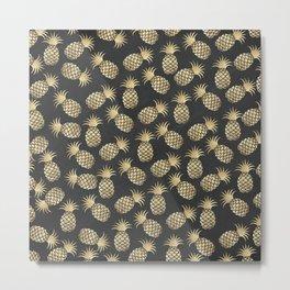Modern chalk black elegant faux gold pineapple pattern Metal Print