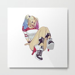 harley quinn joker sexy ass babe pinup beach boobs girl chick sexy hot nasty tits nude naked bed wow Metal Print