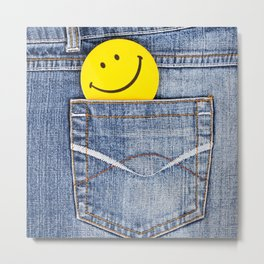 Smile in jeans pocket Metal Print