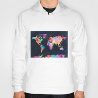 world maps Hoodies featuring World map by Bekim ART