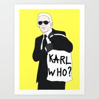 karl Art Prints featuring Karl by Neon Wonderland