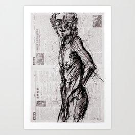 Saint - Charcoal on Newspaper Figure Drawing Art Print