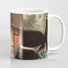 Portrait of A Southwestern Traveler with The Moon & Geometric Shapes In The Background Coffee Mug