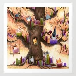 The library in the tree Art Print