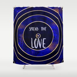 Spread the Love, Sapphire Rippled Marble Design Shower Curtain