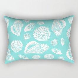 Turquoise and White Seashells Printmaking Art Rectangular Pillow