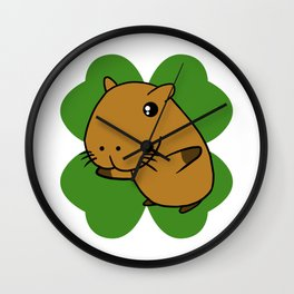 Capybara On 4 Leaf Clover- St. Patricks Day Pun Wall Clock