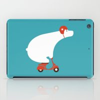 watch iPad Cases featuring Polar bear on scooter by Picomodi