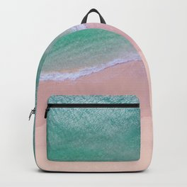 calm sea with pink beach - drone / 2 Backpack