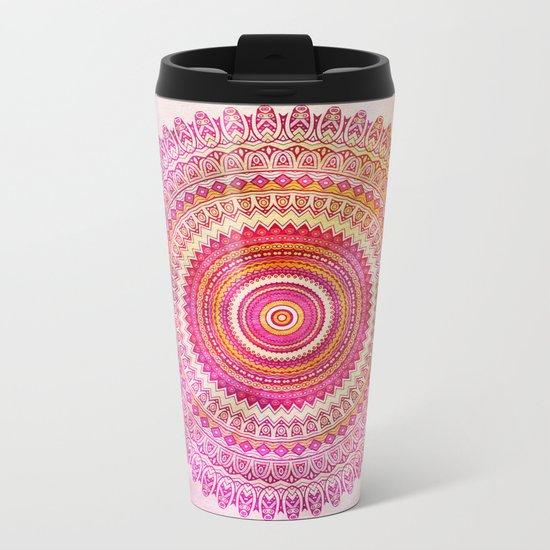 Watercolor Mandala in warm pastel colors Metal Travel Mug