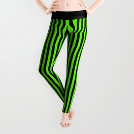 Striped black and light green background Leggings