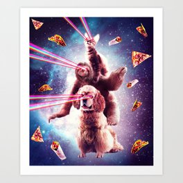 Laser Eyes Space Cat Riding Sloth, Dog - Rainbow Art Print