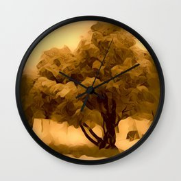 Sepia Juniper Tree by CheyAnne Sexton Wall Clock
